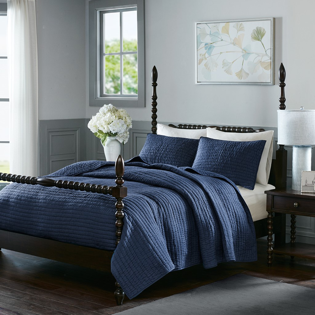 Serene Cotton Hand Quilted Coverlet Set- Multiple Colors