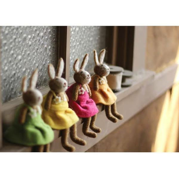 Set of 4 Felt Rabbits \ One Each Color - Chapin Furniture