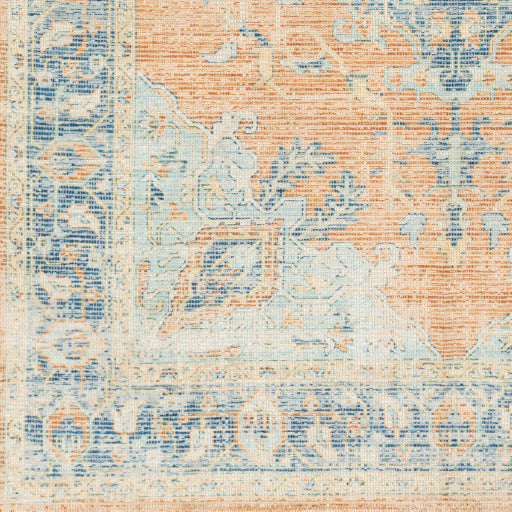 Zainab Sky Blue and Orange Rug - Chapin Furniture