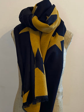 Super Soft Black and Mustard Star Scarf