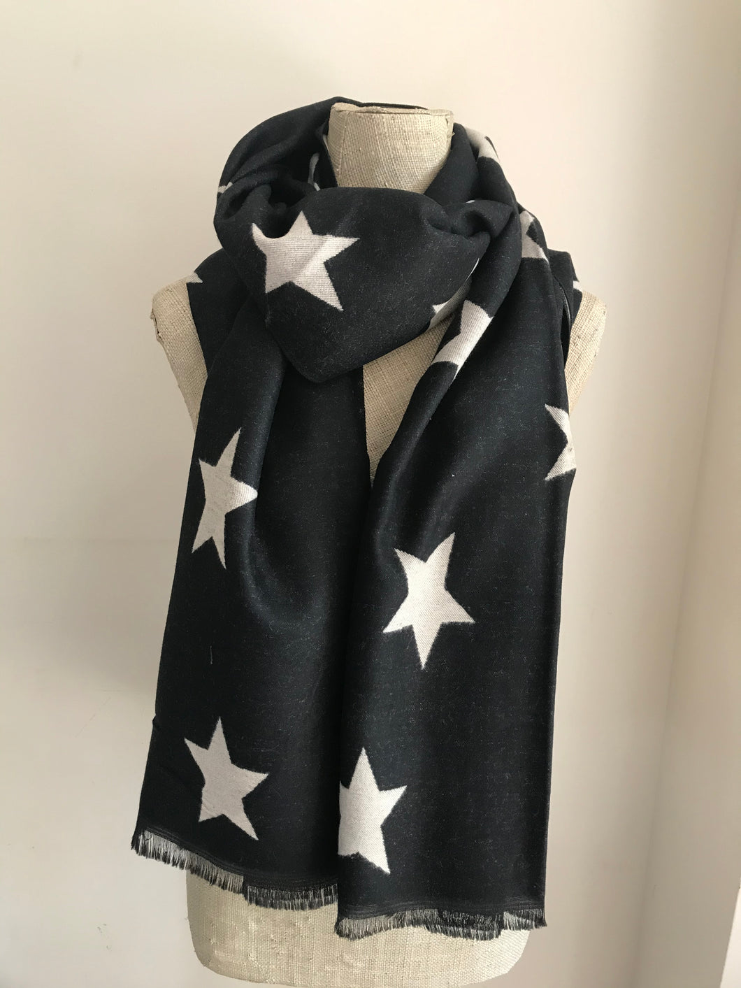 Black with White Star Cashmere Mix Scarf