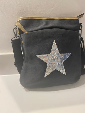 Charcoal grey sparkling Silver Star Bag - 100%  Canvas