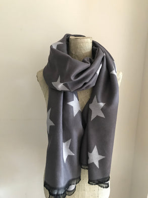 Dark Grey with Light Grey Star Cashmere Mix Scarf