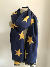 Navy With Yellow Star Cashmere Mix Scarf