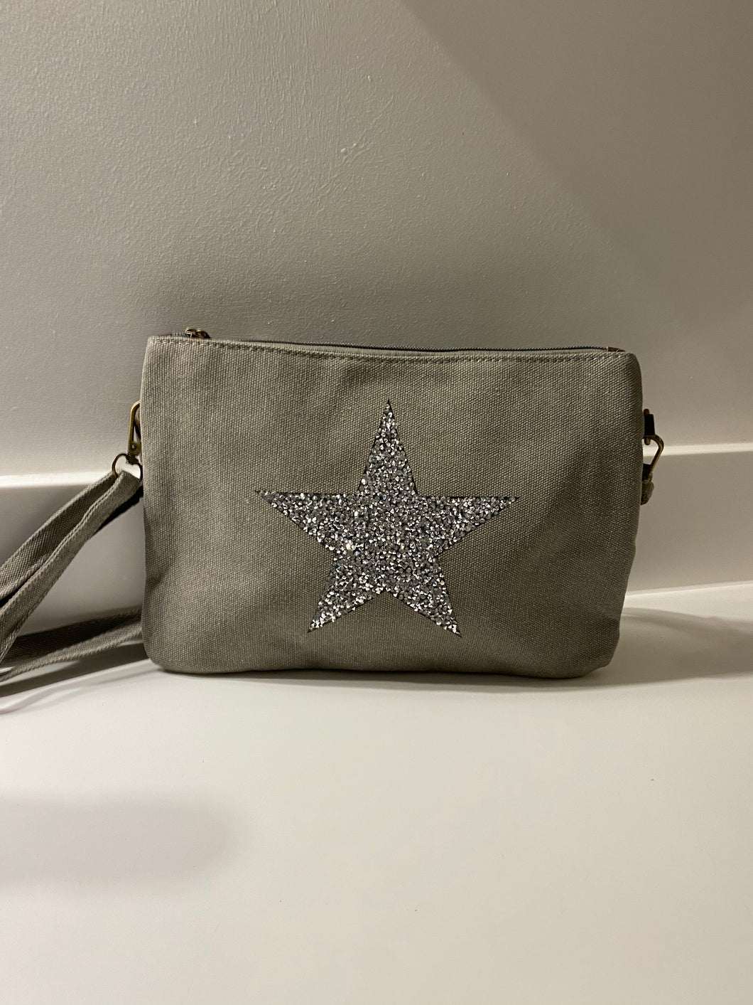 Grey Canvas Sparkle Star Bag