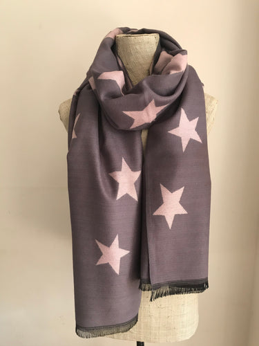 Dark Grey with Pale Pink Star Cashmere Mix Scarf
