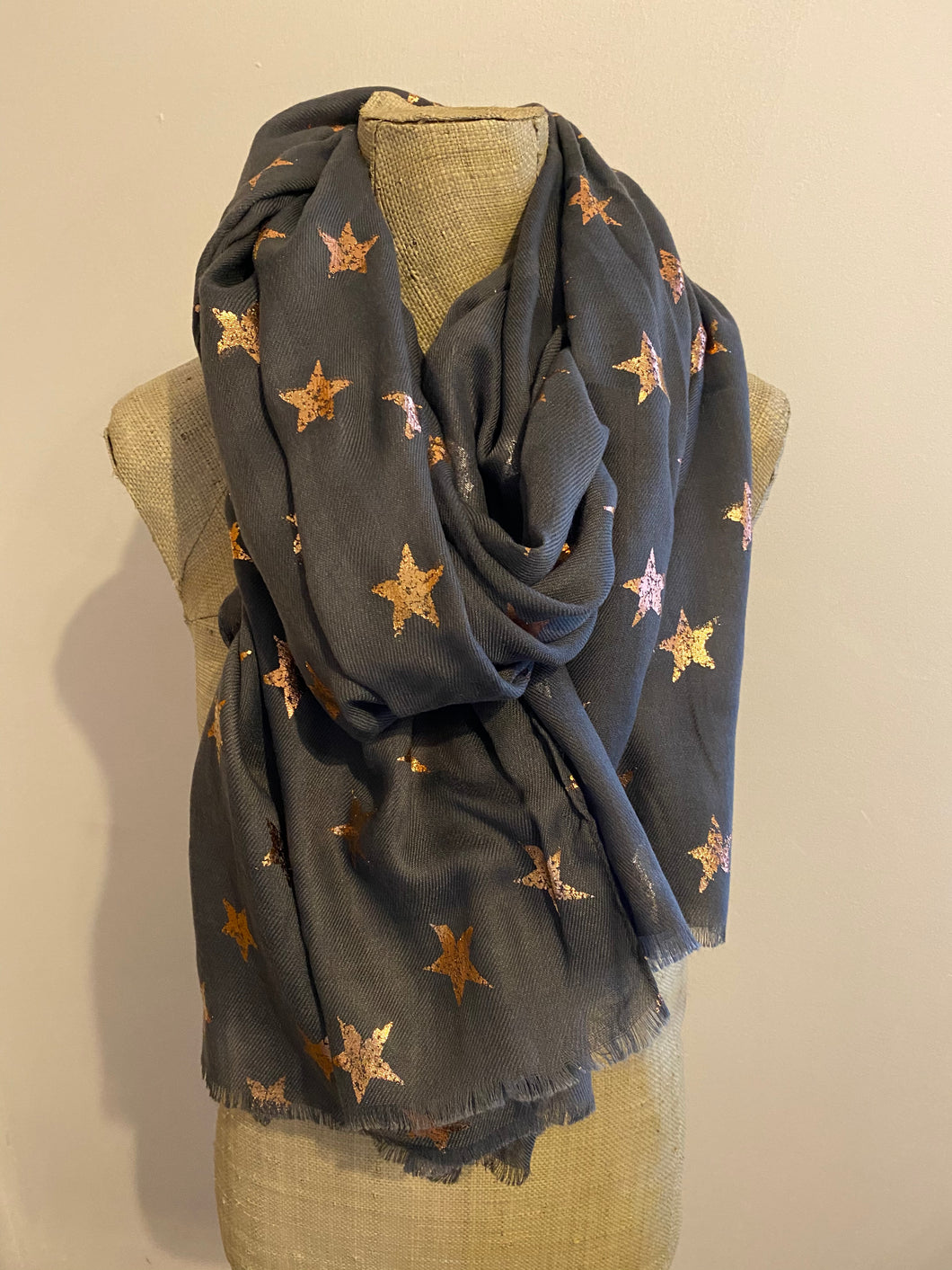 Grey with Bronze Star Scarf