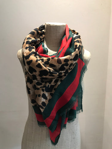 Brown Leopard Scarf with Red and Green Stripe