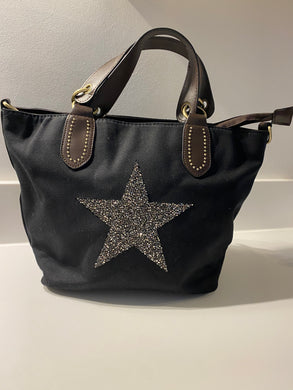 Black Two Way Bag with Sparkle Silver Star