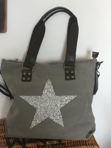 Large Grey sparkling Silver Star Bag - 100%  Canvas