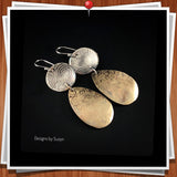 Large Mixed Metal Earrings, Argentium Sterling Silver and Nu-Gold Bronze
