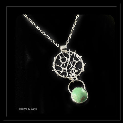 """Dream Catcher"" Necklace, Argentium Silver with Utah Variscite, Sterling Silver Chain"