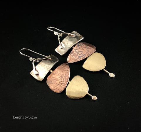 Artisan Mixed metal earrings, Argentium Silver, Copper, Nu-gold Bronze