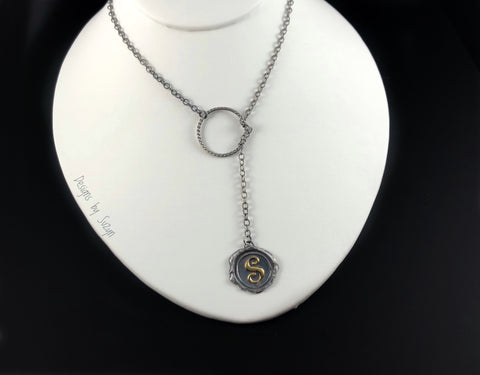 Letter S Wax Seal Lariat necklace - for Sherri