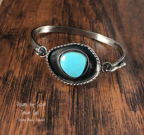 Tension Cuff Turquoise Bracelet