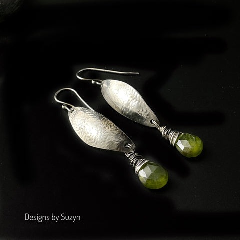 NEW Vesuvenite  and Argentium Silver Earrings, green stones