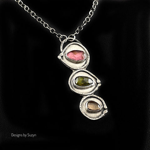 Pink Green and Yellow Tourmaline Argentium Silver Necklace
