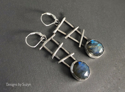 Faceted Flashy Blue Labradorite and Argentium Silver Dangle Earrings
