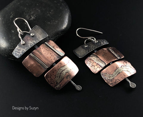 Silver and Copper Statement Earrings #6
