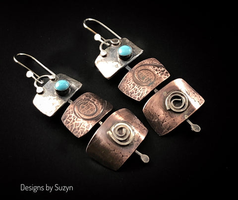 Turquoise, Silver and Copper Statement Earrings #7
