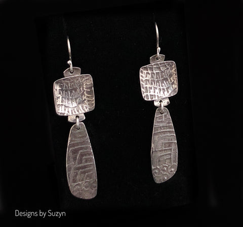 Earrings, silver, tribal, artisan, handmade, lightweight Dangle earrings