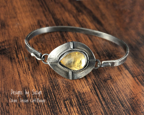 Tension Cuff Citrine Bracelet