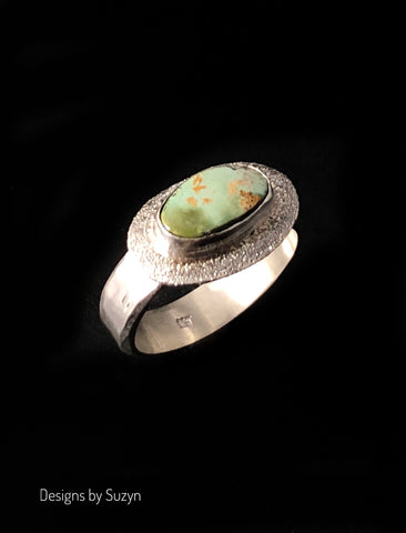 Shiny Turquoise and sterling silver ring size 8.5