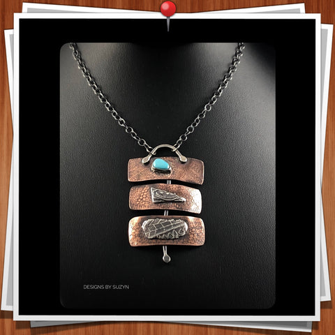 Silver and Copper Mixed Metal Pendant with Sleeping Beauty Turquoise