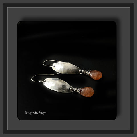 NEW Sunstone and Argentium Silver Earrings