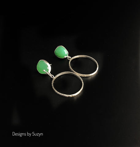 FOR BETTY. Chrysoprase and sterling silver hoops, post earrings