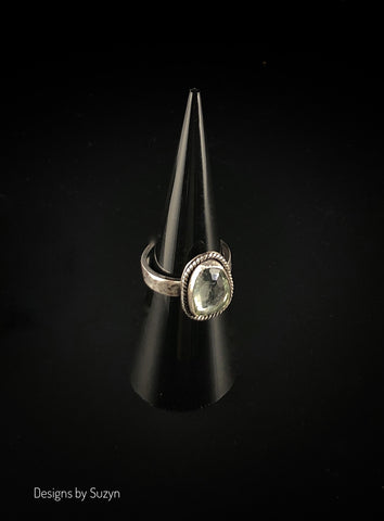 Sterling silver and faceted Prasiolite Ring Size 6.5
