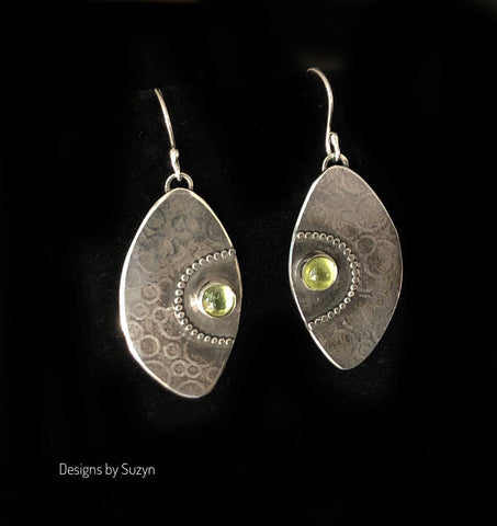 RESERVED. Argentium and Peridot Earrings