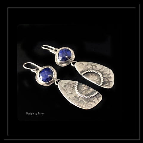 Rosecut Lapis and Argentium Silver Earrings