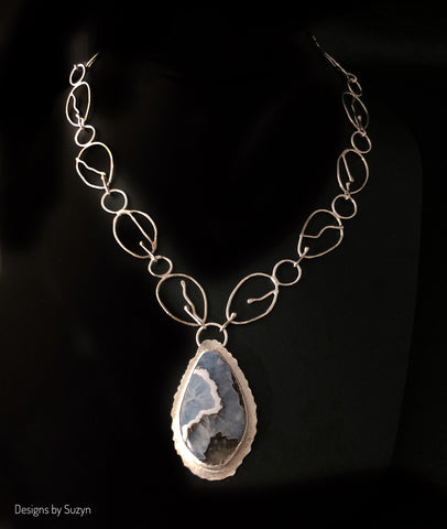 One of a Kind Statement Necklace, Argentium Silver and Coconut Agate with hand-forged chain