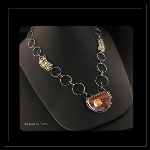 One of a Kind Statement Necklace, Norena Jasper, Yellow Sapphire,  Argentium Silver, 22k gold accents  with hand-forged chain