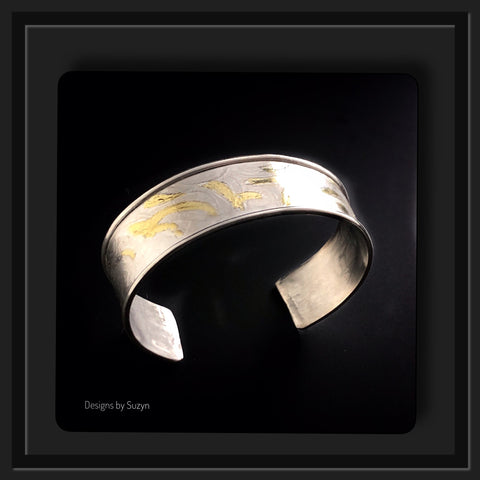 Argentium and gold cuff bracelet - Custom Order for Sharon