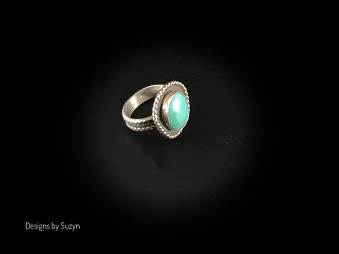 Sleeping Beauty Turquoise Sterling Silver Ring Size 7.5
