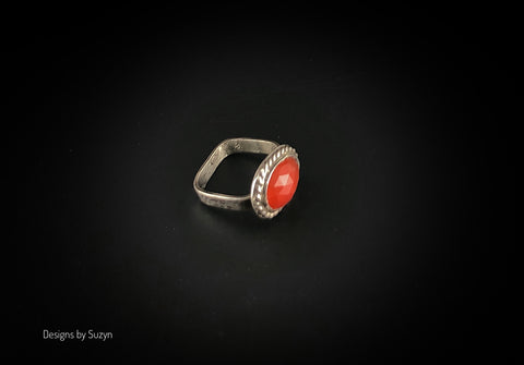 Square band Rose Cut Carnelian Sterling Silver ring Size 6.5