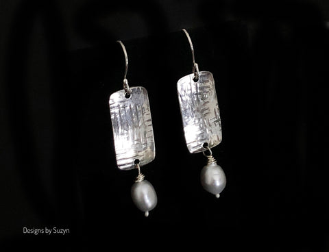 Sterling silver rectangle drop earrings with light grey pearl