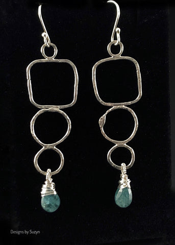 Long Argentium Silver freeform earrings with Apatite