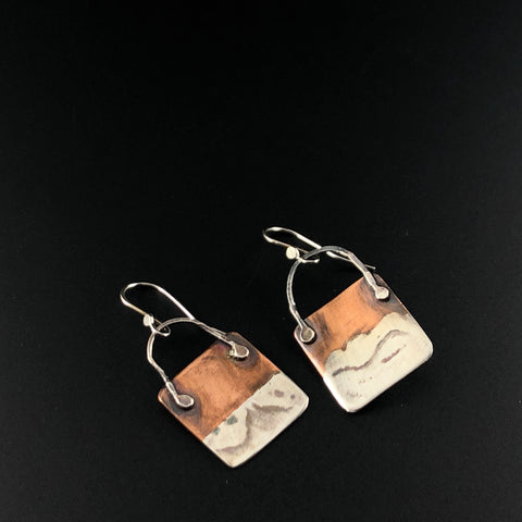 Square, silver and Copper Married Metal Earrings
