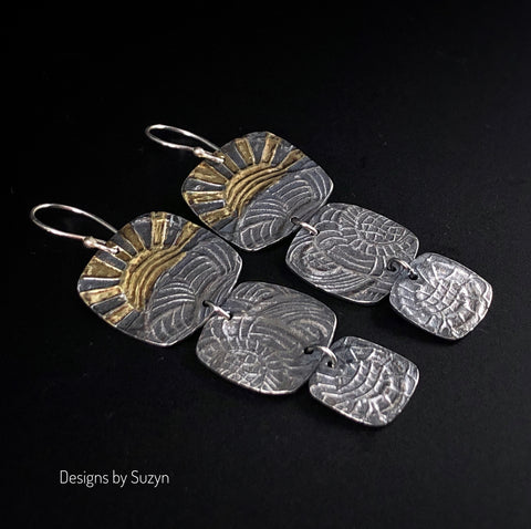 Earrings, Silver and Gold, Keum boo, 24k gold, sun motif