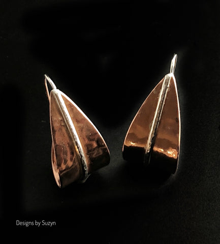 Demi Hoops, Copper  and Argentium Silver