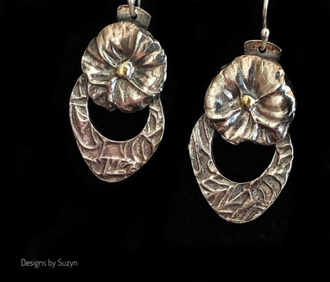 Earrings, silver, botanical, flowers, floral, small dangle earrings-Auction 8/30