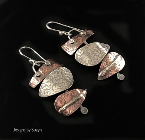 Silver and Copper Statement Earrings #8