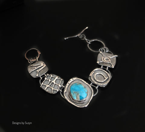 Link Bracelet, Chunky Silver, Kingman Turquoise, hand-crafted
