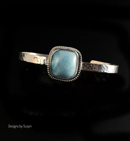 Larimar and Sterling Silver Cuff Bracelet Size 6-3/4 - 7