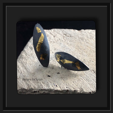 Keum Boo Argentium silver earrings with dark patina and 24k gold accents