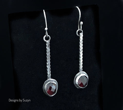 Earrings, Oxidized Silver, small Artisan rose cut red garnet earrings, faceted