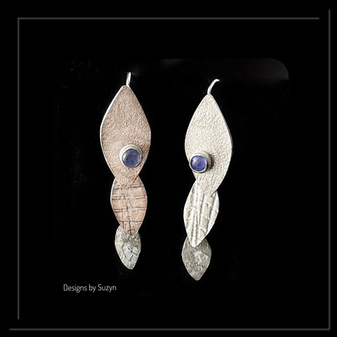 Hidden Connection Argentium Silver and Tanzanite Earrings